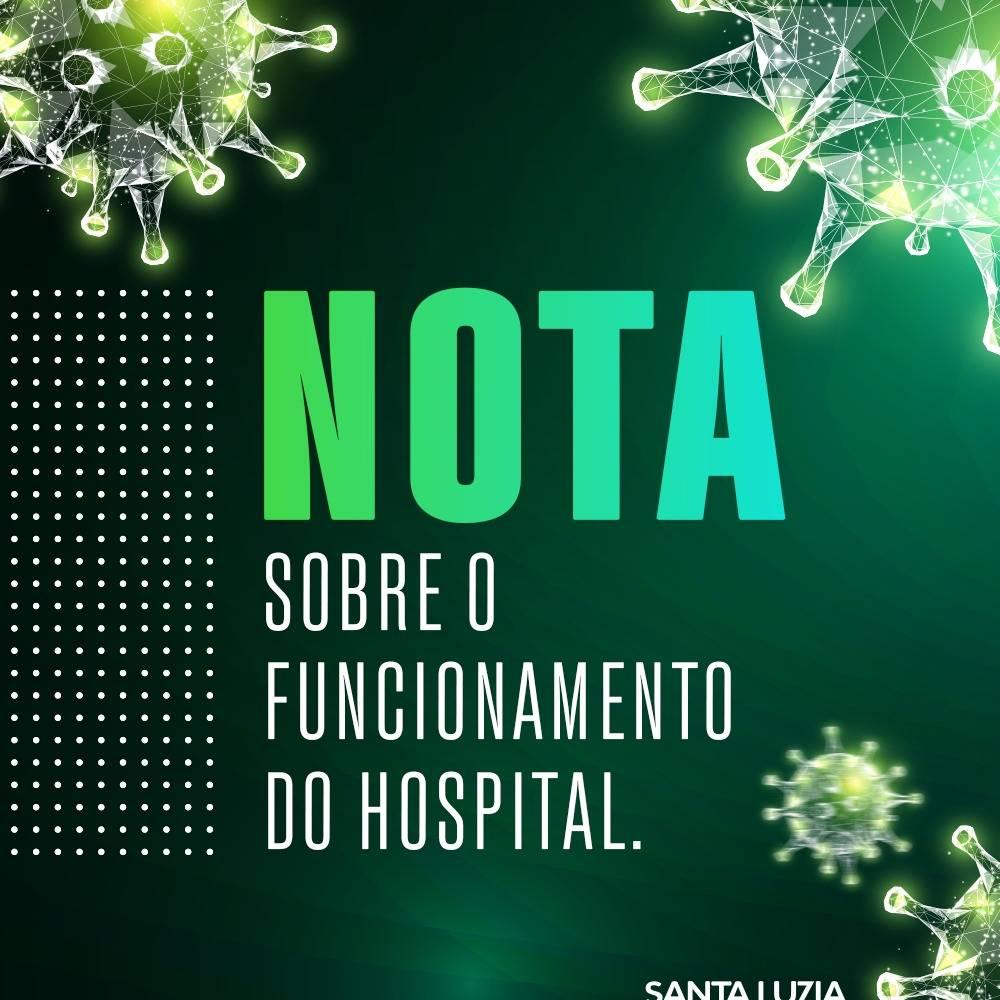 NOTA SOBRE O FUNCIONAMENTO DO HOSPITAL